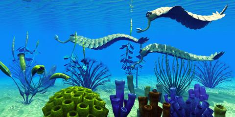 Opabinia in Cambrian Seas - Three Opabinia regalis animals hunt for prey on a reef of Cambrian Seas in the Paleozoic Era.