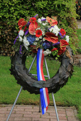 Sympathy wreath with ribbons