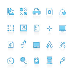 Line with blue background  Print industry icons  - vector icon set