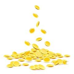 679f335fa183 Coins heap. Gold coins money pile vector illustration