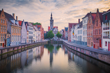 Brugge cityscape in the evening