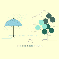 Umbrella with rainfall and Trees as forest on a balancing scale. Balance water cycle concept. Vector illustration.