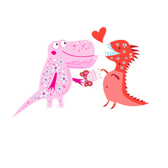 Bright cheerful card with loving dinosaurs