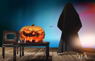 Halloween pumpkin and dark demon ghost at wooden planks 3d rendering