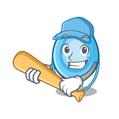 Playing baseball oxygen mask character cartoon
