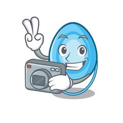 Photographer oxygen mask mascot cartoon