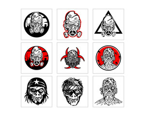 zombie mutation man character icon image vector set