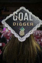 """Decorated Embellished College Graduation Cap """"Goal Digger"""" with Glitter, Rhinestones, Lace, and a Pineapple"""