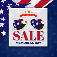 Memorial Day Sale Promotion Banner Background Design