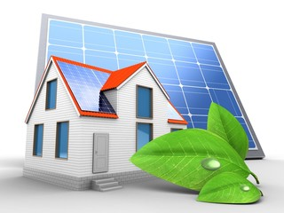 3d modern house with solar panel