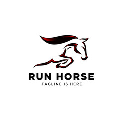Fast speed jump horse logo