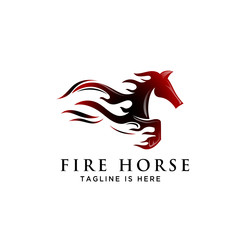 fire Fast speed jump horse logo