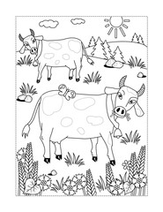 Coloring page with spotted milk cows grazing on the pasture