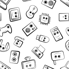 A set of cartoon icons on pc. Black and white cute characters. Vector illustration. Seamless pattern background.