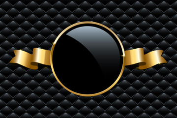 Golden ring and ribbon on black VIP background. Vector luxury design template.