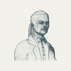 Portrait of a lady. Vintage engraved illustration