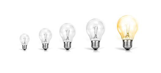 the Light bulb with one growth of glowing bulb on white background ,  growth success of business creative idea concept
