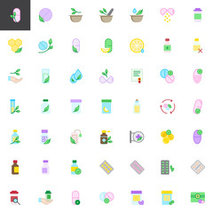 Medicaments elements collection, flat icons set, Colorful symbols pack contains - pills, mortar, herbal, leaves, honeycomb, medicine, vitamin, pharmacy medical Vector illustration Flat style design
