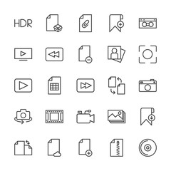 Modern Simple Set of video, photos, bookmarks, files Vector outline Icons. Contains such Icons as sheet, hdr,  cassette, add,  rotation and more on white background. Fully Editable. Pixel Perfect.