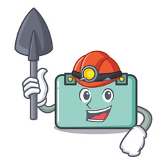 Miner suitcase mascot cartoon style
