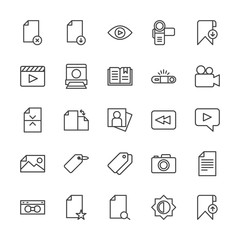Modern Simple Set of video, photos, bookmarks, files Vector outline Icons. Contains such Icons as  lens,  computer,  vhs,  search,  fashion and more on white background. Fully Editable. Pixel Perfect.