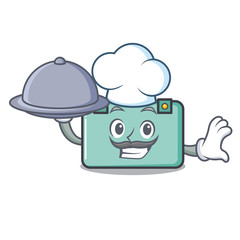 Chef with food suitcase mascot cartoon style
