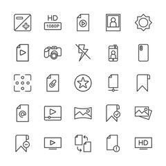 Modern Simple Set of video, photos, bookmarks, files Vector outline Icons. Contains such Icons as  off,  button,  clip,  video,  computer,  and more on white background. Fully Editable. Pixel Perfect.