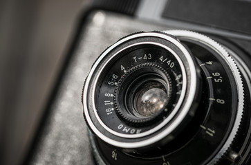Glass optics of an old film camera