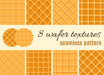 Set of seamless pattern. The texture of the waffle, an ice cream cone. Cartoon illustration for web, site, advertising, banner, poster, flyer, business card. Vector illustration.