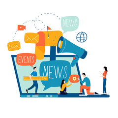 E-mail news, subscription, promotion flat vector illustration design. Online news, news update, information about events, activities, company information and announcements