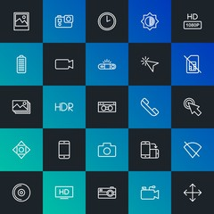 Modern Simple Set of mobile, video, photos, cursors Vector outline Icons. Contains such Icons as  television,  camera, image and more on dark and gradient background. Fully Editable. Pixel Perfect.