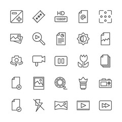 Modern Simple Set of video, photos, bookmarks, files Vector outline Icons. Contains such Icons as  camera, mail,  document,  lens, rewind and more on white background. Fully Editable. Pixel Perfect.