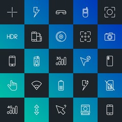 Modern Simple Set of mobile, video, photos, cursors Vector outline Icons. Contains such Icons as  concept, mobile,  space,  end and more on dark and gradient background. Fully Editable. Pixel Perfect.