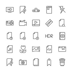 Modern Simple Set of video, photos, bookmarks, files Vector outline Icons. Contains such Icons as  paper,  flash,  concept,  template,  off and more on white background. Fully Editable. Pixel Perfect.