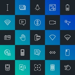 Modern Simple Set of mobile, video, photos, cursors Vector outline Icons. Contains such Icons as  mouse,  cursor,  usb,  screen and more on dark and gradient background. Fully Editable. Pixel Perfect.