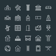 Modern Simple Set of buildings, furniture, housekeeping Vector outline Icons. Contains such Icons as  money,  architecture, brush,  scented and more on dark background. Fully Editable. Pixel Perfect.
