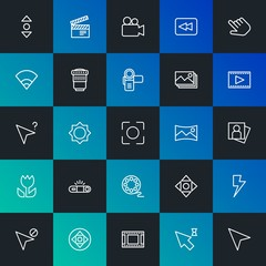 Modern Simple Set of mobile, video, photos, cursors Vector outline Icons. Contains such Icons as  flash, image, lens, wireless and more on dark and gradient background. Fully Editable. Pixel Perfect.