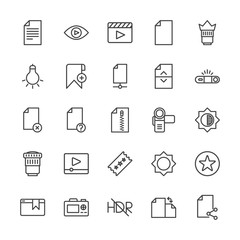Modern Simple Set of video, photos, bookmarks, files Vector outline Icons. Contains such Icons as camera,  lens,  data,  rotation,  travel and more on white background. Fully Editable. Pixel Perfect.