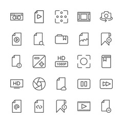 Modern Simple Set of video, photos, bookmarks, files Vector outline Icons. Contains such Icons as  file,  light,  connection,  photo, stop and more on white background. Fully Editable. Pixel Perfect.