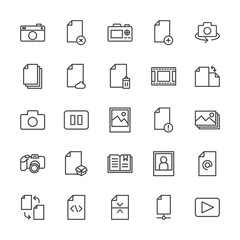 Modern Simple Set of video, photos, bookmarks, files Vector outline Icons. Contains such Icons as  network, business,  internet,  people and more on white background. Fully Editable. Pixel Perfect.