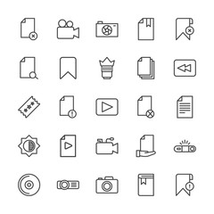 Modern Simple Set of video, photos, bookmarks, files Vector outline Icons. Contains such Icons as book,  book, internet,  education, camera and more on white background. Fully Editable. Pixel Perfect.