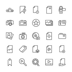 Modern Simple Set of video, photos, bookmarks, files Vector outline Icons. Contains such Icons as  business,  entertainment,  template, add and more on white background. Fully Editable. Pixel Perfect.