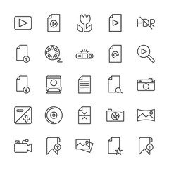 Modern Simple Set of video, photos, bookmarks, files Vector outline Icons. Contains such Icons as  caption, microphone,  photo,  data,  sky and more on white background. Fully Editable. Pixel Perfect.