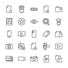 Modern Simple Set of video, photos, bookmarks, files Vector outline Icons. Contains such Icons as lens,  new,  hand, mail,  photo,  media and more on white background. Fully Editable. Pixel Perfect.