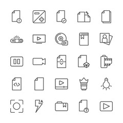 Modern Simple Set of video, photos, bookmarks, files Vector outline Icons. Contains such Icons as  people,  objective, hidden,  secret and more on white background. Fully Editable. Pixel Perfect.