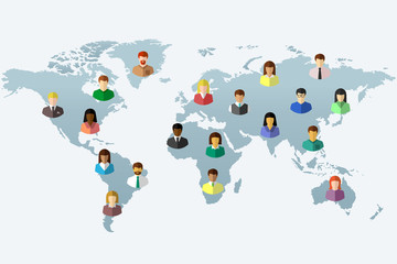 Diverse people and world map concept in flat design