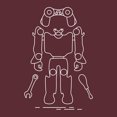 Toys: robot, console, spanner, screwdriver.