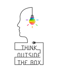 Think outside the box concept with saying and colorful lightbulb. Wire forming head profile silhouette on white background.