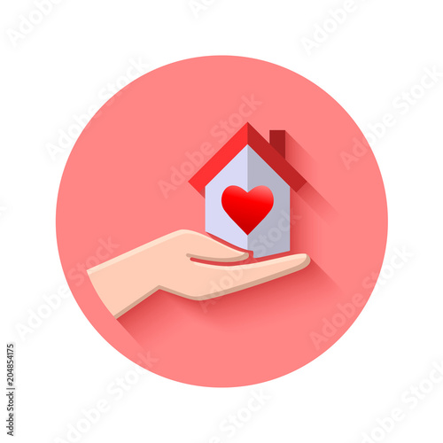 Tremendous Hand Holding A House With Heart Inside Real Estate Concept Home Remodeling Inspirations Genioncuboardxyz