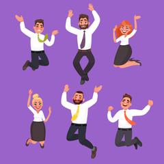 Set of happy business people jumping. Office workers celebrate the victory. Vector illustration